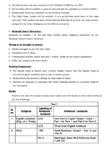 Class I – Important School Information