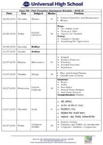 Class VII – First Formative Assessment Schedule – 2018-19