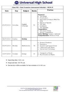 Class VIII – First Formative Assessment Schedule – 2018-19