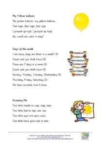 Nursery – Rhymes for the month of April , 2018