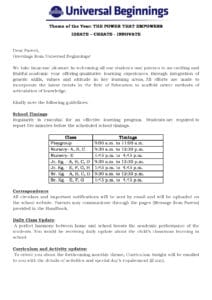 Playgroup to Sr.Kg. – Important School Information