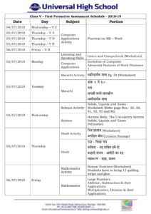 Class V – First Formative Assessment Schedule – 2018-19