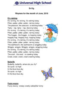 Sr.Kg. – Rhymes for the month of June , 2018