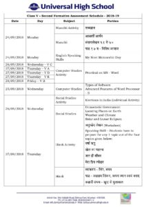 Class V – Second Formative Assessment Schedule – 2018-19