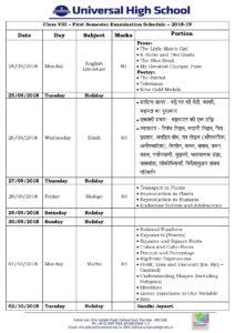 Class VIII – First Semester Examination Schedule – 2018-19