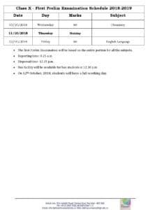 Class X – First Prelim Examination Schedule 2018-2019