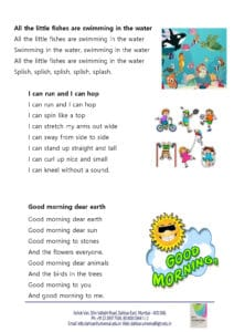 Playgroup – Rhymes for the month of August , 2018
