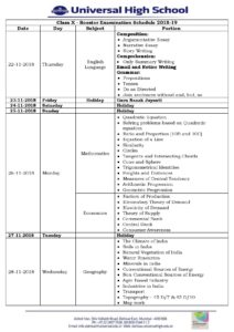 Class X – Booster Examination Schedule 2018-19
