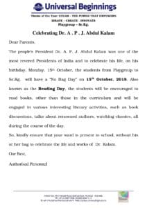 Revised Playgroup to Sr.Kg. – Celebrating Dr. A . P . J. Abdul Kalam