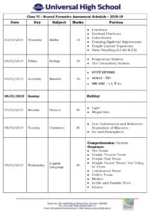 Class VI – Second Formative Assessment Schedule – 2018-19