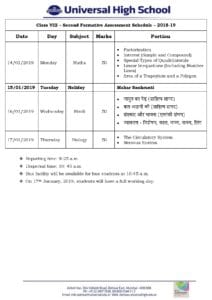Class VIII – Second Formative Assessment Schedule – 2018-19