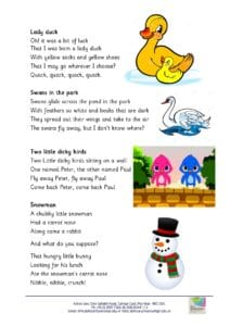 Nursery – Rhymes for the month of November and December, 2018